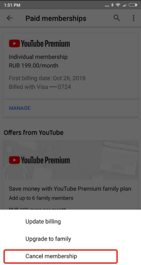 How to cancel Youtube Premium (Red) subscription