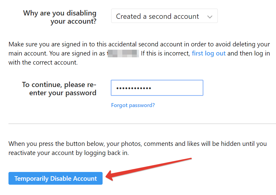 How to temporarily disable an Instagram account