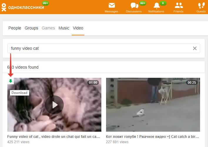 Download video from Odnoklassniki