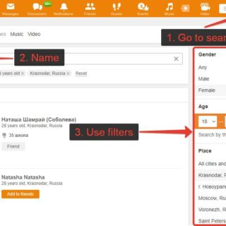 How to search friends on Odnoklassniki, find person