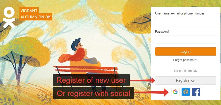 Odnoklassniki registration of new account