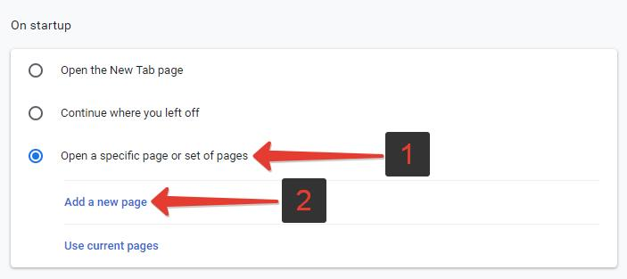 Open a specific page or set of pages Chrome