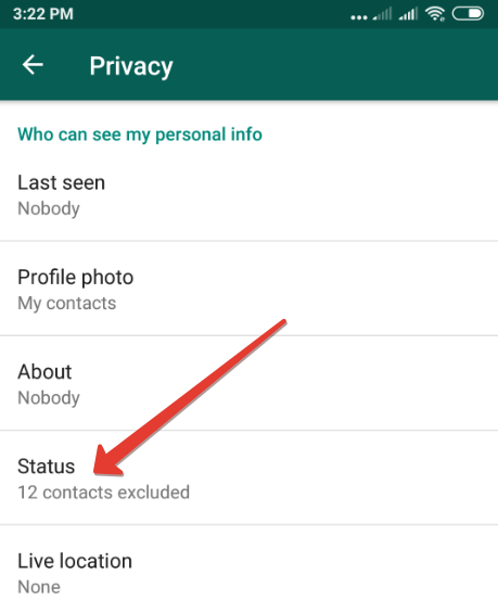 How to hide WhatsApp status updates from specific people on Android