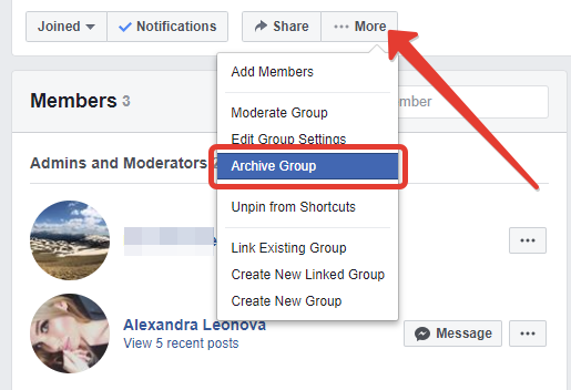 How to  archive a group on Facebook you made on desktop