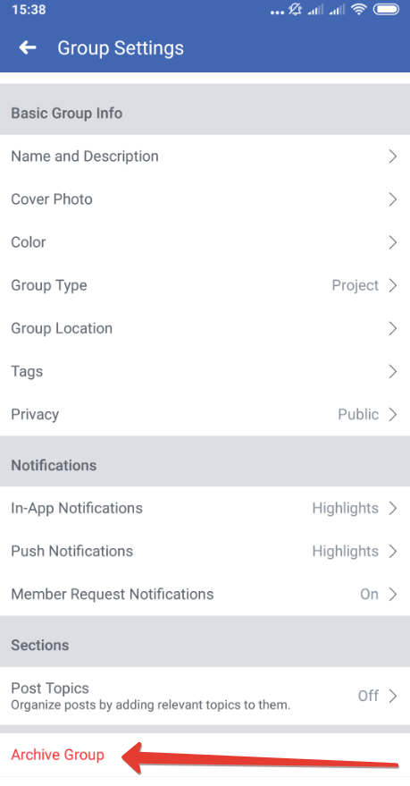 How to archive a group on Facebook app on Android