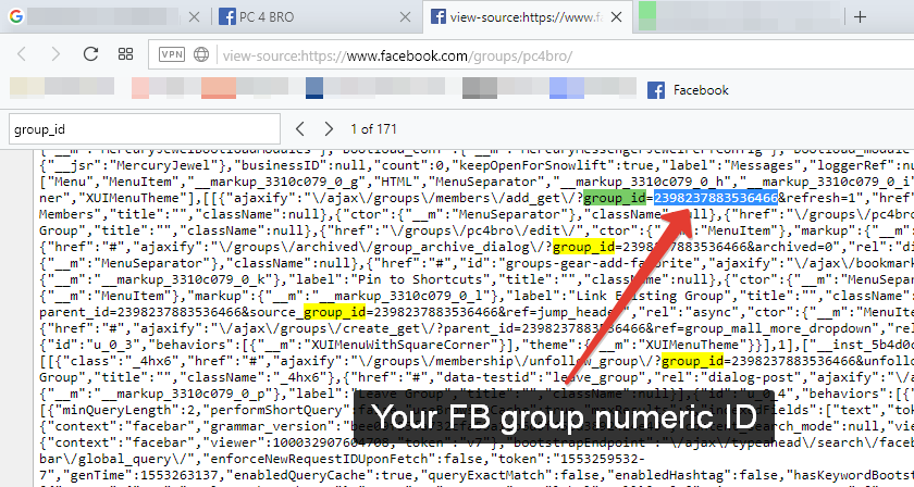 How to find Facebook group numeric ID