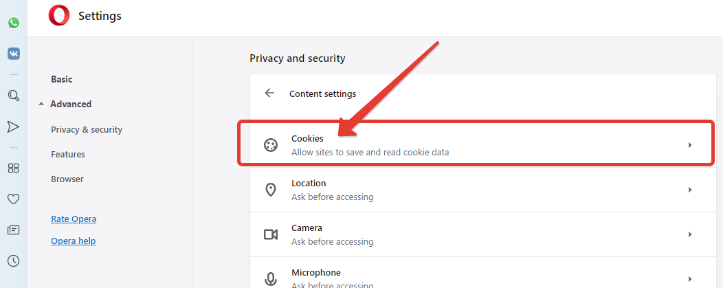How to enable cookies in Opera browser