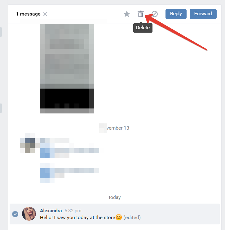 How to delete sent message on VK