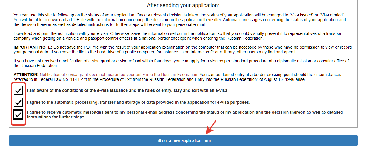 Application for a tourist e-visa to Russia