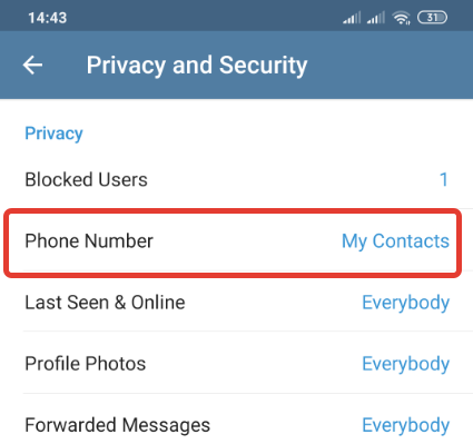 Hiding your phone number on Telegram