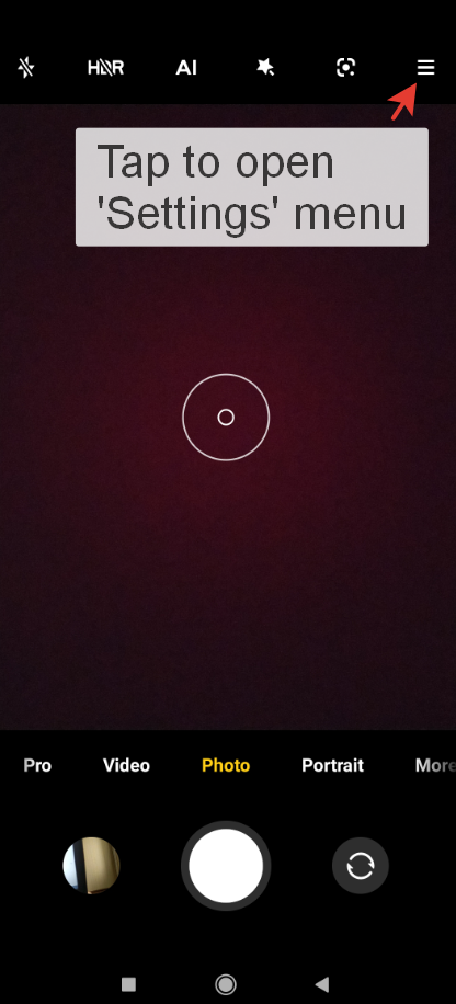 How to enable/disable Focus mode in the Xiaomi Camera app